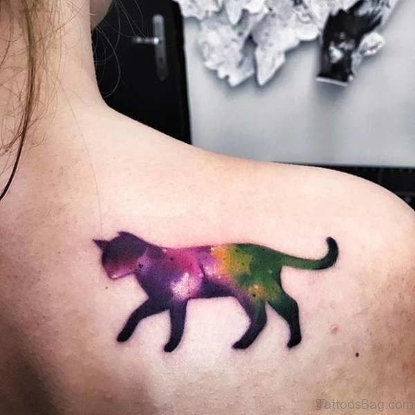 Colorful Walking Cat Tattoo On Shoulder