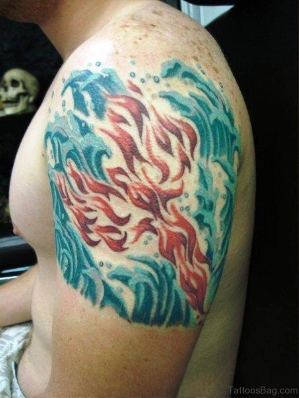 Colorful Waves Tattoo On Shoulder