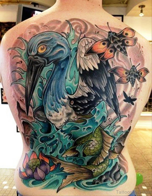 Coloured Heron Bird Tattoo On Back