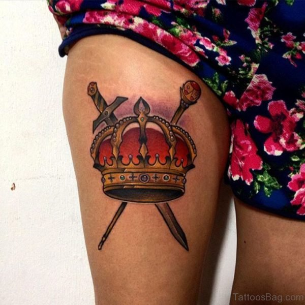 Colourful Crown Tattoo On Thigh