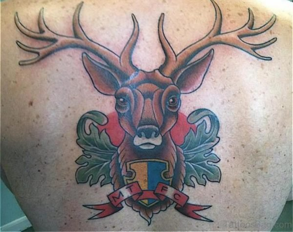 Colorful Deer Tattoo On Back