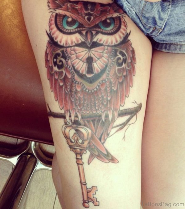 Colourful Owl Tattoo On Thigh