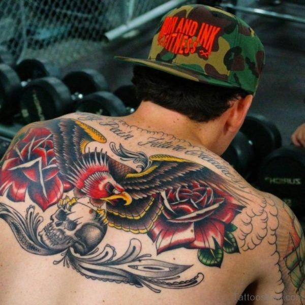 Colred Eagle Tattoo On Back