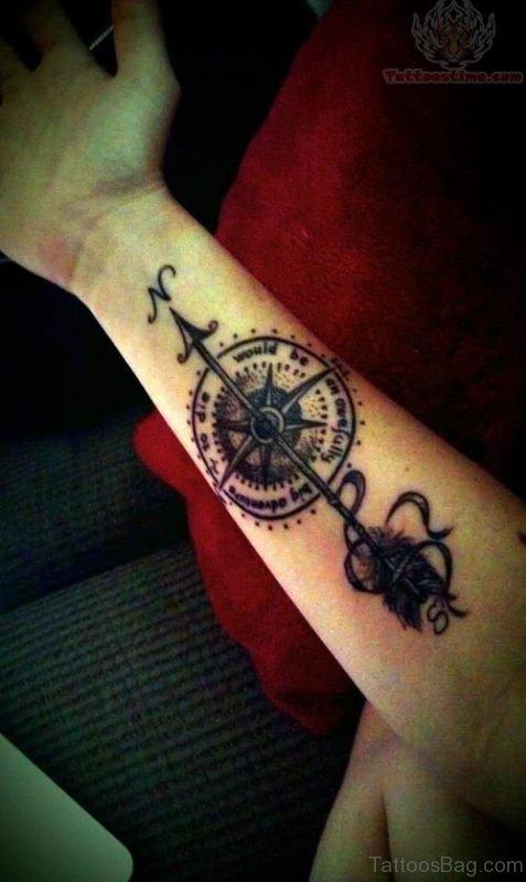 Compass Arm Tattoo Design