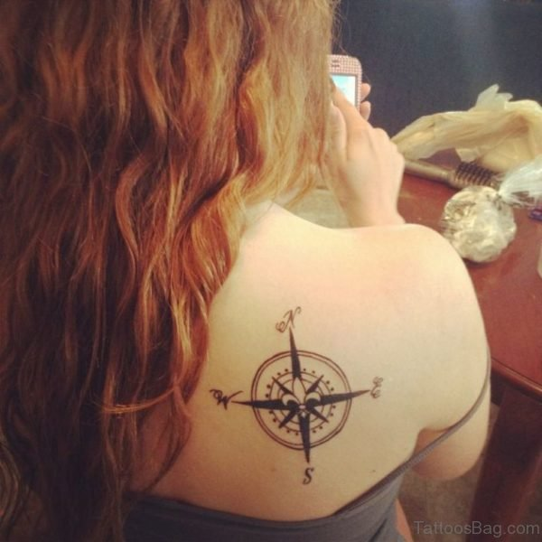 Compass Tattoo Design On Back