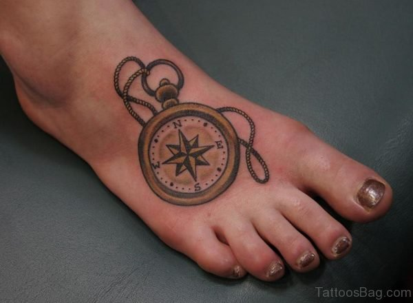 Compass Tattoo Design On Foot