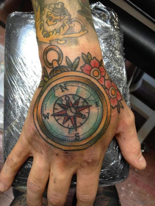 Compass Tattoo Design On Hand