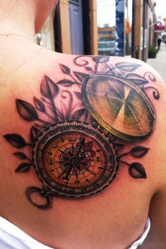 Compass Tattoo On Back Shoulder