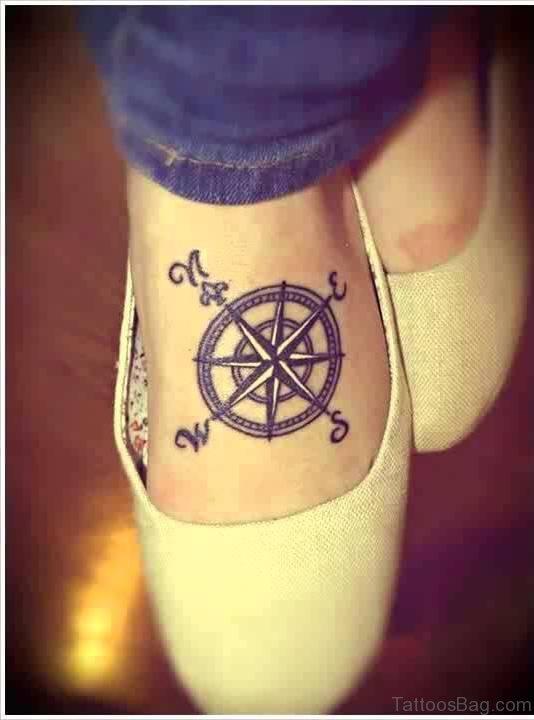 Compass Tattoo On Foot