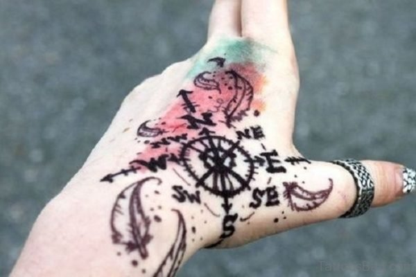 Compass Tattoo On Hand