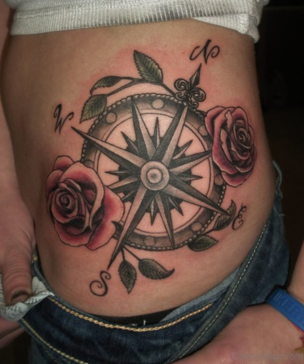 Compass Tattoo On Stomach