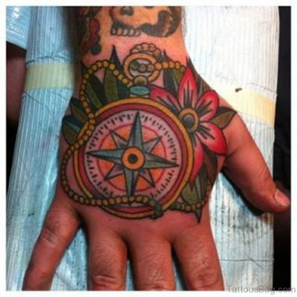 Compass Tattoo On hand Image