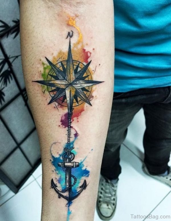Compass with Anchor Tattoo