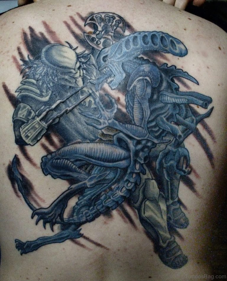 Awesome Tattoos Design Collection For Feet: 58 Fantastic Alien Tattoos On Back
