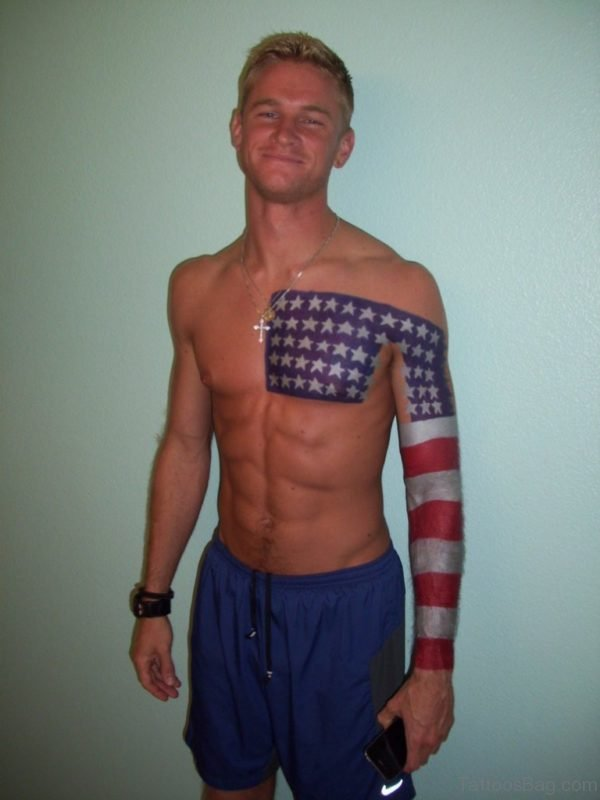 Cool American Flag Tattoo On Chest