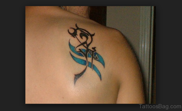 Cool Aquarius Tattoo On Shoulder