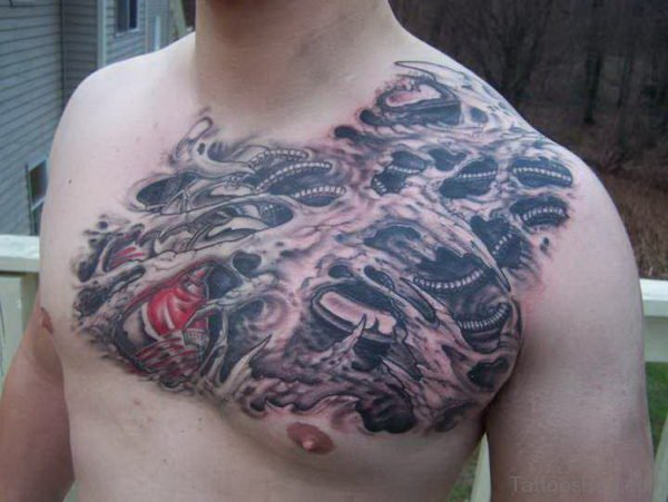 Cool Biomechanical Tattoo On Chest