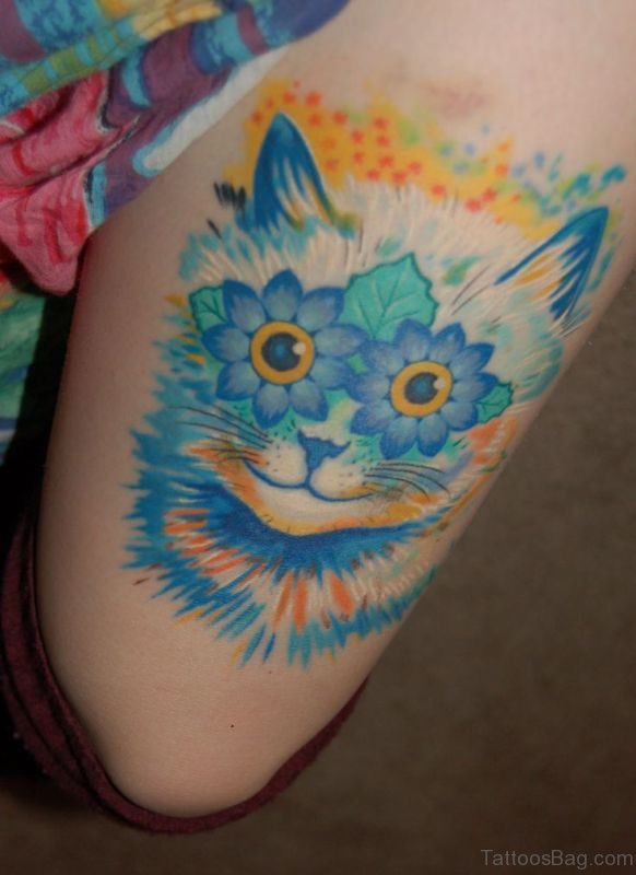 Cool Blue Cat Tattoo On Thigh