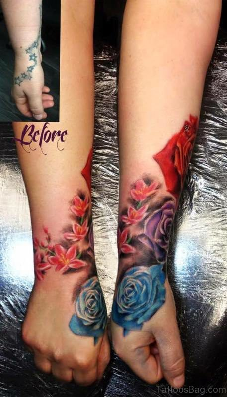 Cool Blue Rose Tattoo On Hand