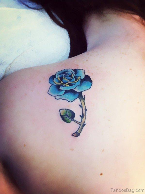 25 beautiful blue rose shoulder tattoos. Black Bedroom Furniture Sets. Home Design Ideas