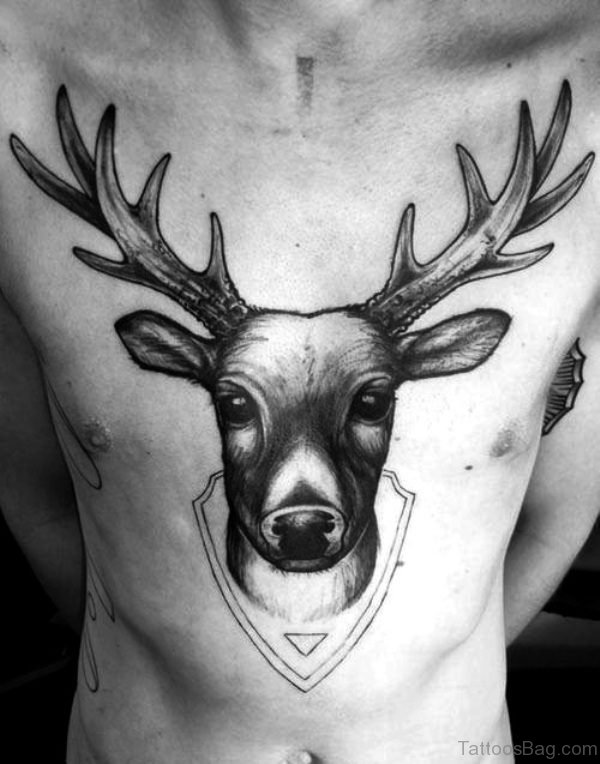 Cool Buck Tattoo On Chest