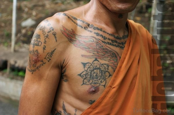Cool Buddhist Tattoo On Chest