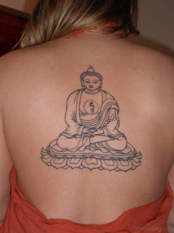 Cool Buddhist Tattoo On Upper Back