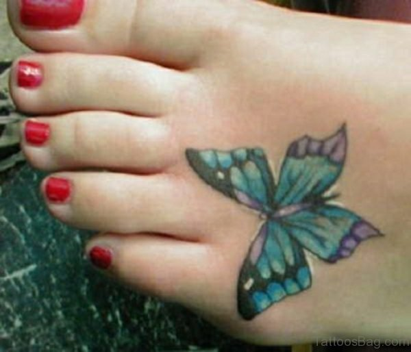 Cool Butterfly Tatoo On Foot