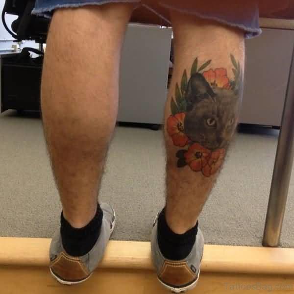 Cool Cat Head Tattoo On Men Leg