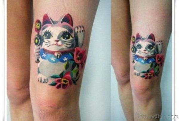 Cool Cat Tattoo Design On Thigh