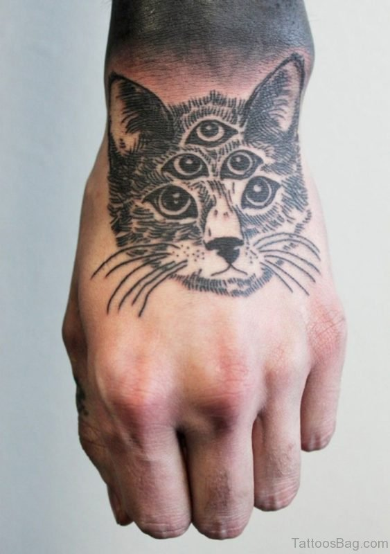 Cool Cat Tattoo On Hand