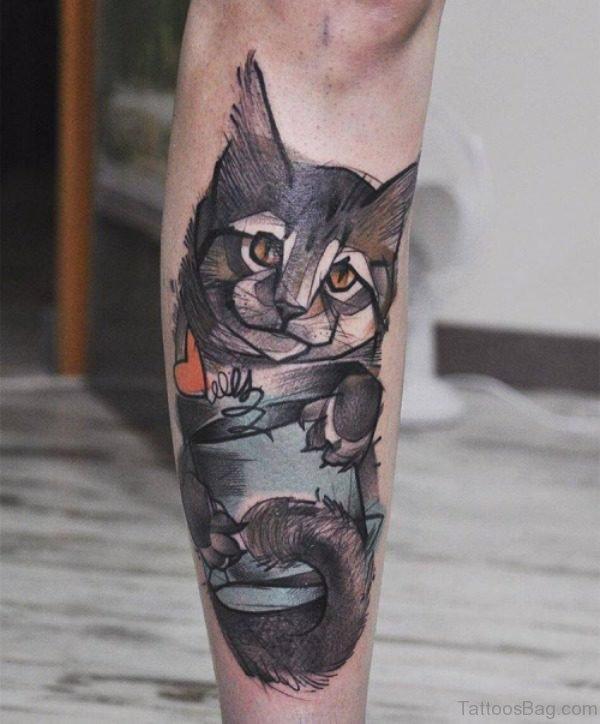 Cool Cat Tattoo On Leg