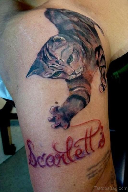 Cool Cat Tattoo On Shoulder