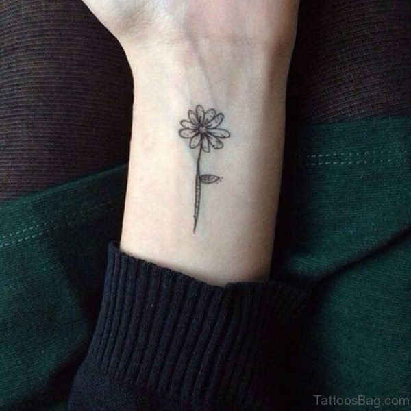 Cool Daisy Tattoo On Wrist