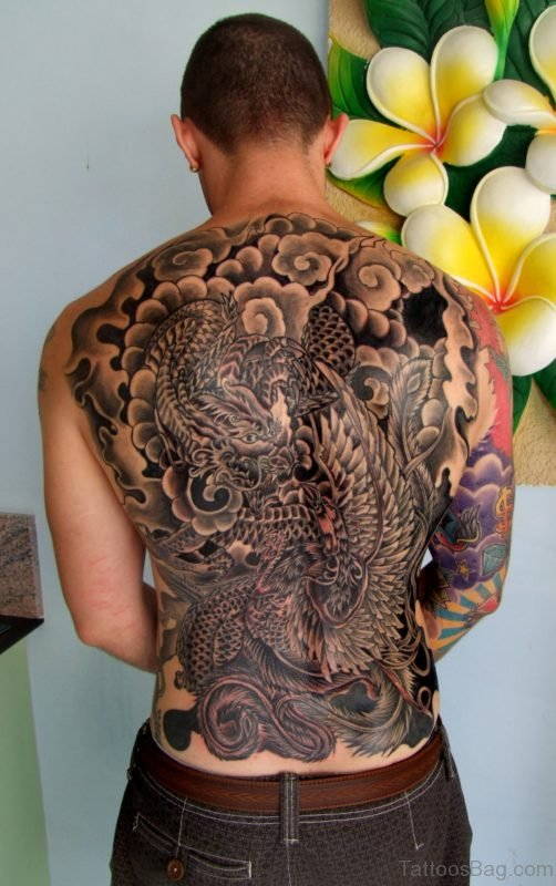 Cool Dragon Tattoo On Back Body