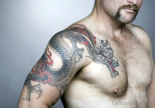 Cool Dragon Tattoo On Chest
