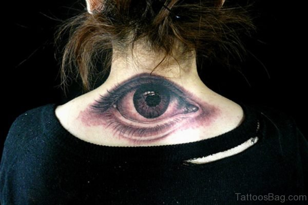 Cool Eye Tattoo On Nape