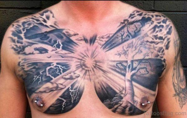 Cool Family Tree Tattoo On Chest For Men