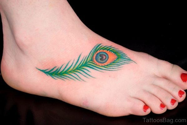 Cool Feather Tattoo On Foot