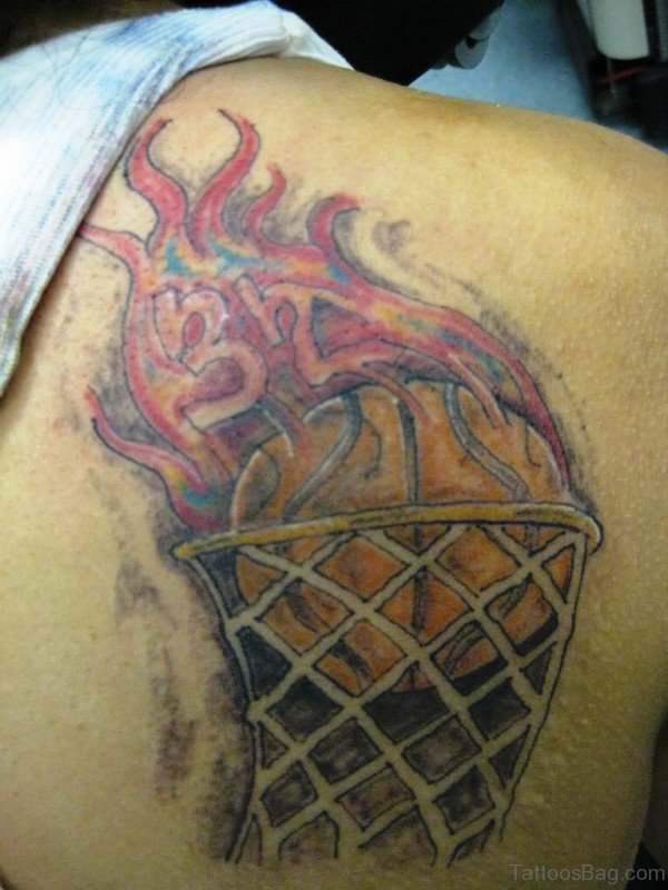 Cool Flaming Basketball Tattoo Design