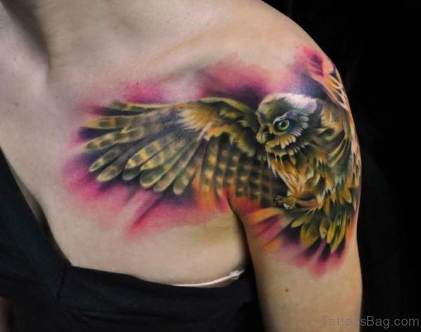 Cool Flying Owl Tattoo On Shoulder
