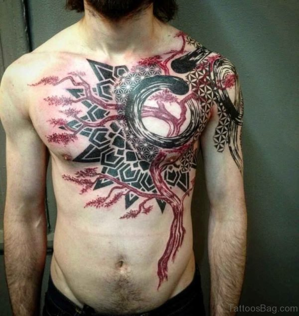 Cool Grey Ink Tree And Deer Skull Chest Tattoo