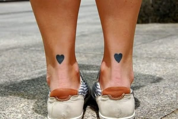 Cool Heart Tattoo On Ankle