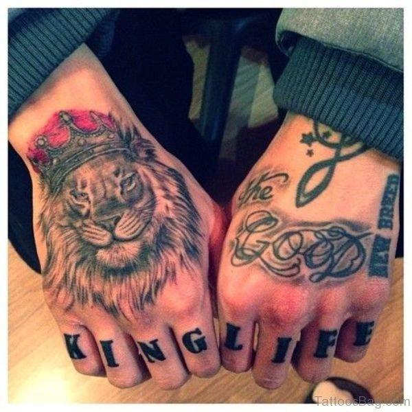 Cool Lion Head Tattoo On Hand