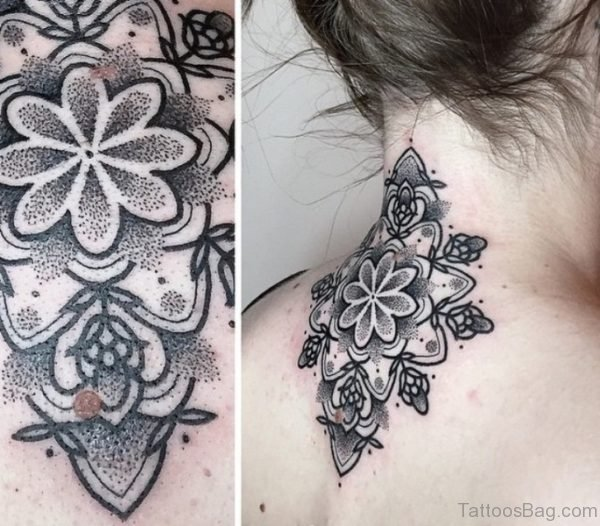 Cool Manadala Neck Tattoo