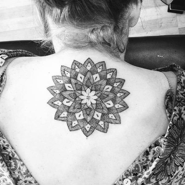 Cool Mandala Neck Tattoo Design