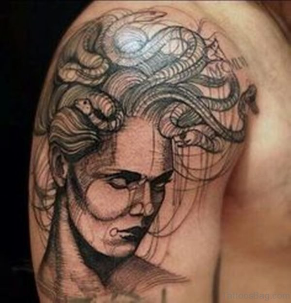 Cool Medusa Tattoos On Shoulder