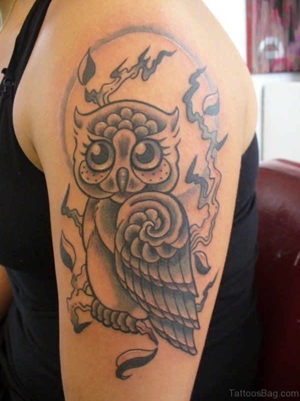Cool Owl Tattoo On Shoulder