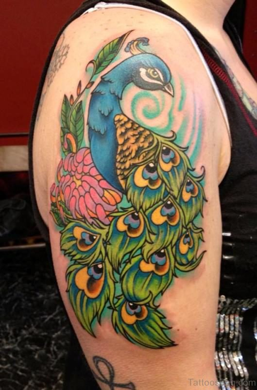 Cool Peacock Tattoo On Right Shoulder