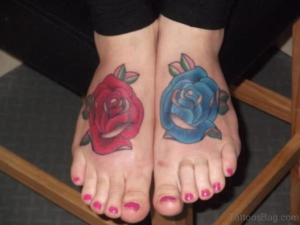 Cool Red And Blue Rose Tattoo On Foot